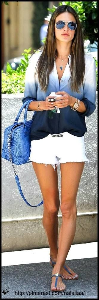 Love the blue ombre shirt with white shorts...