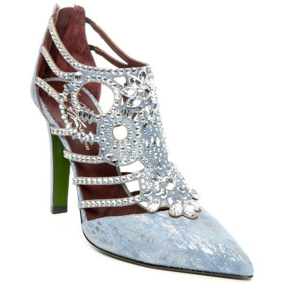 Donald J Pliner Women's Hyndra- Blue (7.5) ($699) ❤ liked on Polyvore featuring shoes, blue, metallic, pumps, velvet, vintage blue shoes, studded shoes, sparkly high heel shoes, studded high heel shoes and sparkle shoes