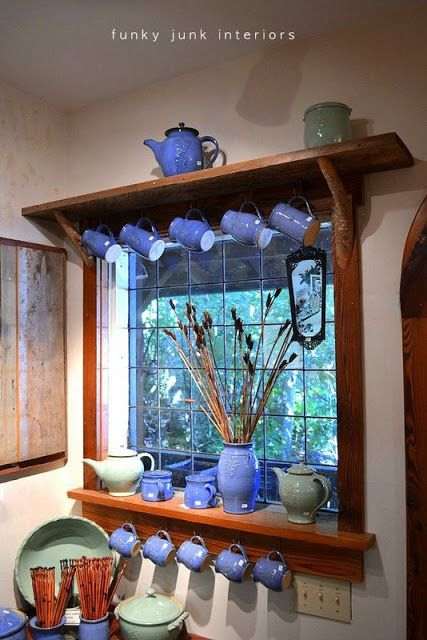 Who needs curtains when you have pretty pottery cups? (Funky Junk Interiors):