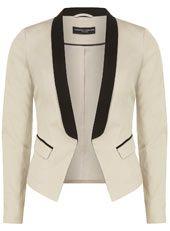Stone contrast lapel blazer