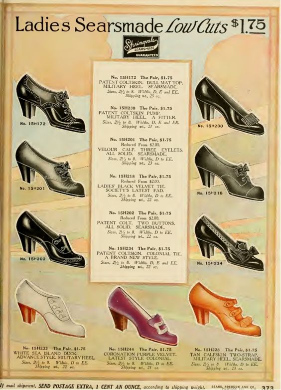 1912, Low cut oxfords or slip on pumps for light walking, afternoon visiting, or at home