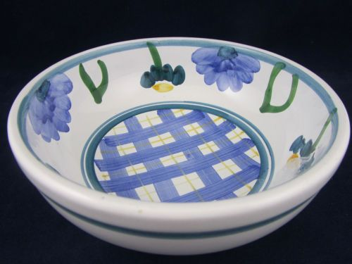 Caleca Arioso Pattern Coupe Cereal Bowl Italy Blue Yellow Plaid Green Trim Ariso | eBay