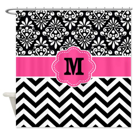 Pink Black Damask Chevron Monogram Shower Curtain | Pink, Showers ...