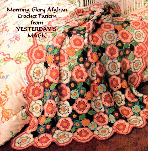 Vintage 1970s Crochet Pattern pdf.Morning Glory Flowers & Leaves ... www.etsy.com