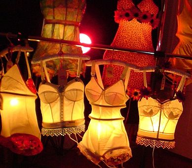 """Tramp Lamps. Who thinks, """"Hey, let's put lights in our grannie's ole bras?"""""""