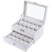 Songmics Caja para 20 de Relojes Joyería Soporte de Exhibición de Relojes caja Vitrina JWB201