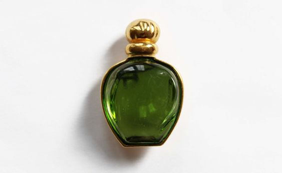 Rare Christian Dior Perfume Bottle Brooch - Green Glass Bottle Brooch