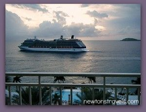Cruise boat in St. Thomas Virgin Islands. View from our room.
