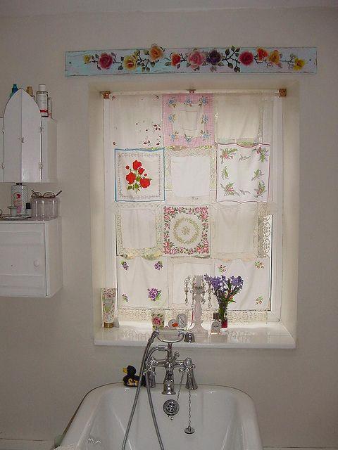 Delicate curtain made of vintage hankies.