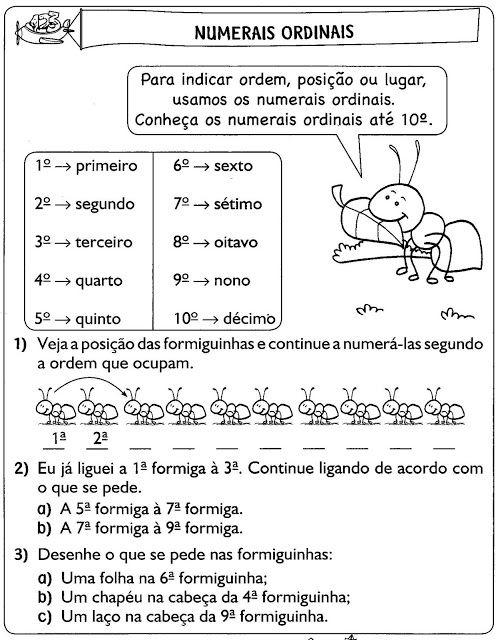 Atividades Com Numerais Ordinais Para Imprimir Numerais Ordinais