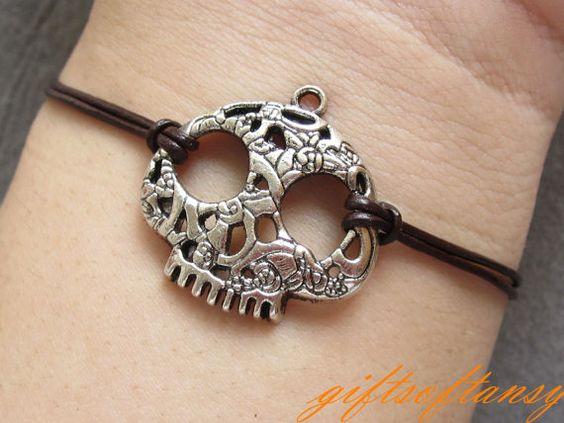 Cute Skull Bracelet -  Antique Silver Skull bracelet, Hollow out skull bracelet - L361. $2.59, via Etsy.