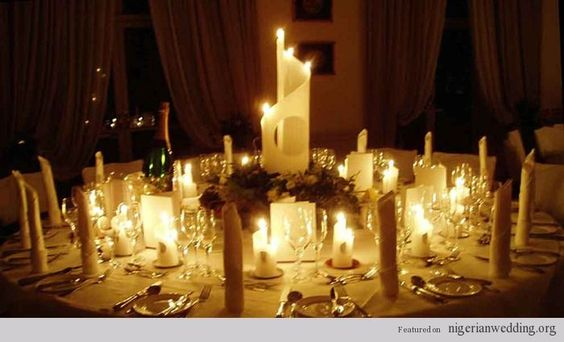Nigerian wedding candle centerpiece: Wedding Decoration, Wedding Idea, Table Decorations For Weddings, Reception Table Decorations, Candle Decoration, Table Setting