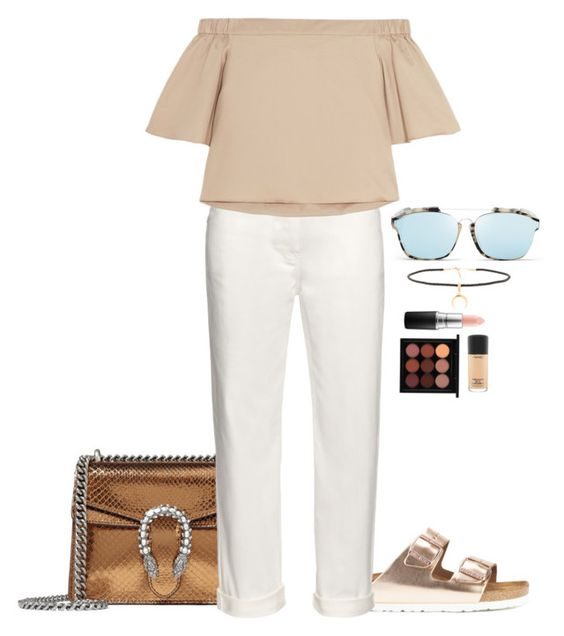 """""""Won a gold medal"""" by julia-cccix ❤ liked on Polyvore featuring Birkenstock, Gucci, Balenciaga, TIBI, Christian Dior, Joolz by Martha Calvo and MAC Cosmetics"""