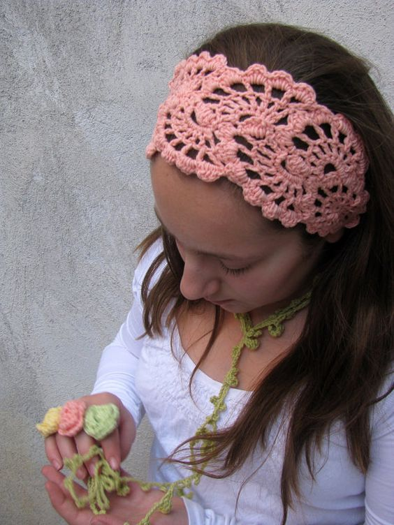 Crochet Hair Wrap : - Hand Crochet Hairband - Womens Bandana - Crochet Hair Wrap -Hair ...