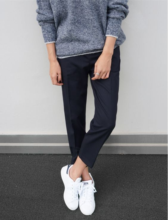 comfy/casual but also chic enough for casual day at work. love the combo of ankle trousers with athletic footwear