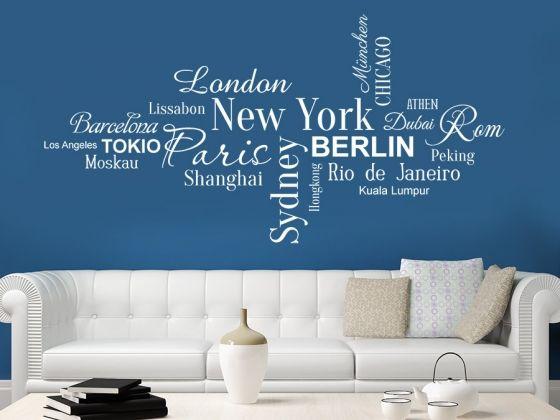 Weltstädte Wandtattoo mit New York, Berlin, Sydney, Paris London, Athen, Chicago, Los Angeles, Dubai, Moskau, Peking, Tokio usw. in verschiedenen Schriften. #Städte #Metropolen #Wanddekoration