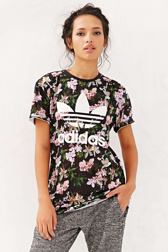 adidas orchid logo tee urban outfitters cheap shoes and ForAdidas Floral Shirt Urban Outfitters