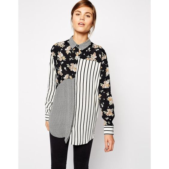 Blouse by ASOS Collection Lightly textured fabric Pointed collar Curved hem Concealed button placket Regular fit true to size Machine wash 100% Viscose Our mod…