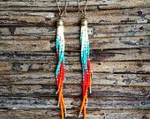 Long Fringe Earrings, Stunning Sunset in the Sky Earrings, Boho Jewelry