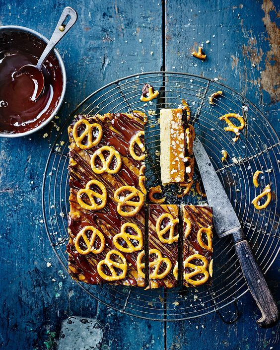 This recipe by Edd Kimber is not for the faint of heart. Layers of shortbread, salted caramel and dark chocolate make up this ultimate afternoon treat.