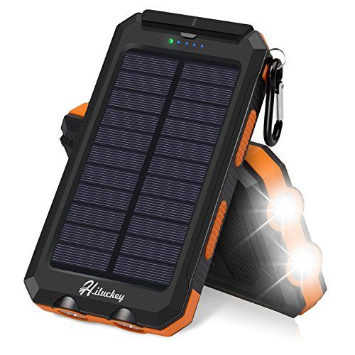 Solar Charger Hiluckey Solar Power Bank 10000mah Waterproof Shockproof Portable External Battery Pack With Dual Usb For Camping Travelling And Other Outdoor A Solar Powered Phone Charger Solar Charger