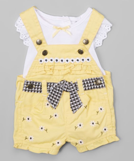 Love this White Tee & Yellow Floral Shortalls - Infant by Nannette Girl on #zulily! #zulilyfinds