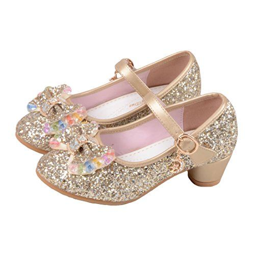Kids Girls Mary Jane Wedding Party Shoes Glitter Bridesmaids Low Heels Princess Dress Shoes