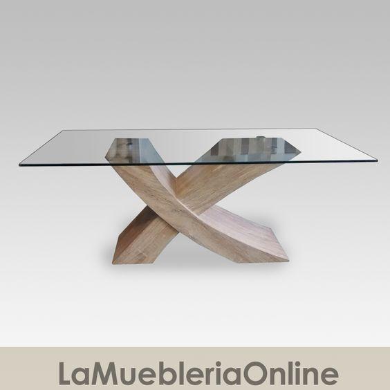 Mesa ratona de vidrio rectangular base cruz for Mesa de vidrio rectangular