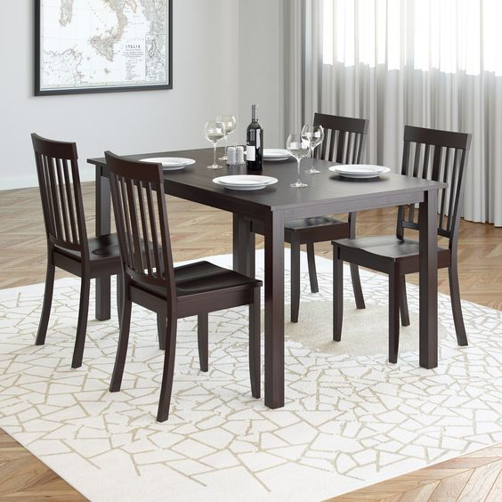 CorLiving Atwood 5pc Dining Set with Cappuccino Stained Chairs, Brown