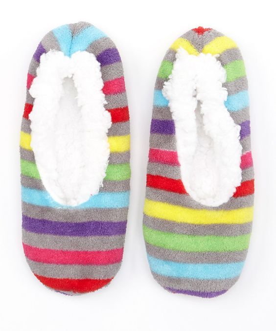 This Gray & Pink Stripe Slippers by Eye Candy is perfect! #zulilyfinds