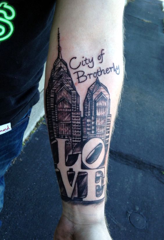 Philadelphia love tattoos and love on pinterest for Brotherly love tattoo