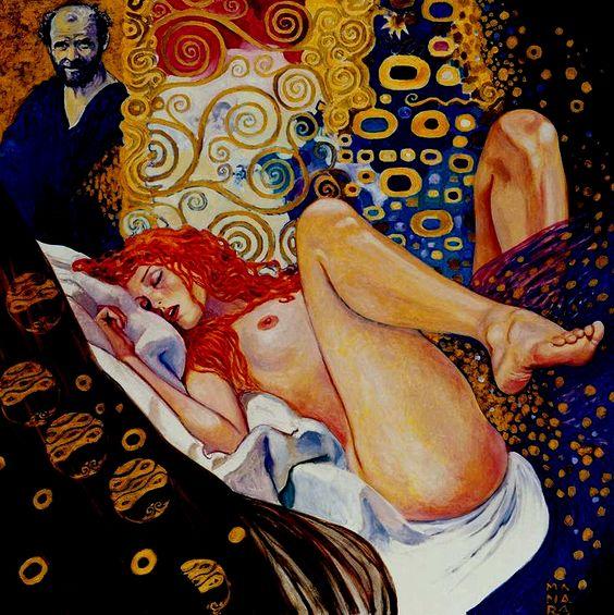 Milo MANARA -Il pittore e la Modella- reinterpretazione di Gustav Klimt:
