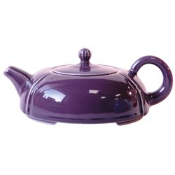 Imperial Moon: Flat purple porcelain teapot, low, round like the moon.