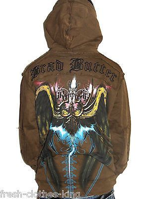 BRAD BUTTER Hoodie New $118 Mens Brown Gothic Designs Jacket Choose Size
