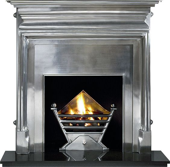 ART DECO POLISHED FIRE BASKET WITH GAS FIRE CHOICE OF COALS OR PEBBLES