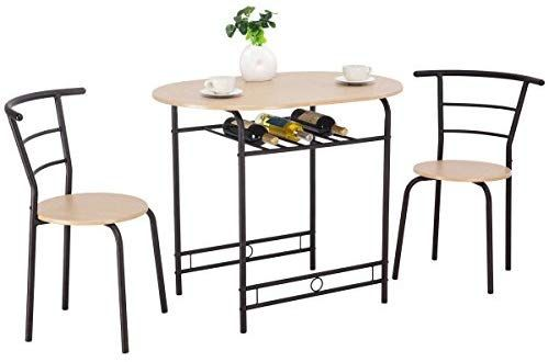 Amazon Com Giantex 3 Pcs Dining Table Set W 1 Table And 2 Chairs Home Restaurant Breakfast Bistro Pub Kitchen Dining Room Furniture Natural Table Chair