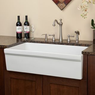 "36"" Edgewood Single Bowl Italian Fireclay Farmhouse Sink - USA Spec Drain - Biscuit"
