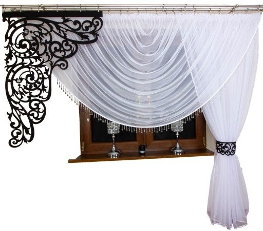 Firana Draperia Koraliki Markizeta Gladki Azury Home Decor Curtains Decor