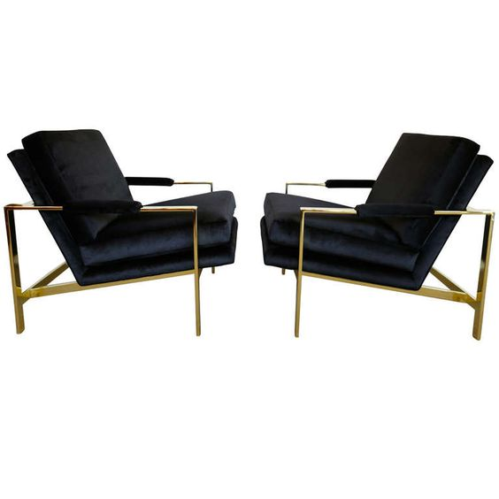 Pair of Brass & Velvet Lounge Chairs by Milo Baughman | From a unique collection of antique and modern lounge chairs at http://www.1stdibs.com/furniture/seating/lounge-chairs/