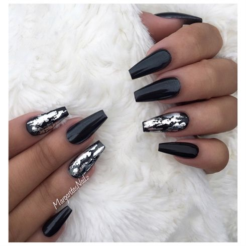 Black And Silver Coffin Nails By Margaritasnailz Coffin Nails Designs Metallic Nails Silver Nails