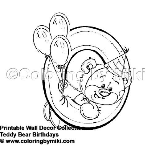 Cute Teddy Bear Birthday 0 Year Poster Coloring Page Bear