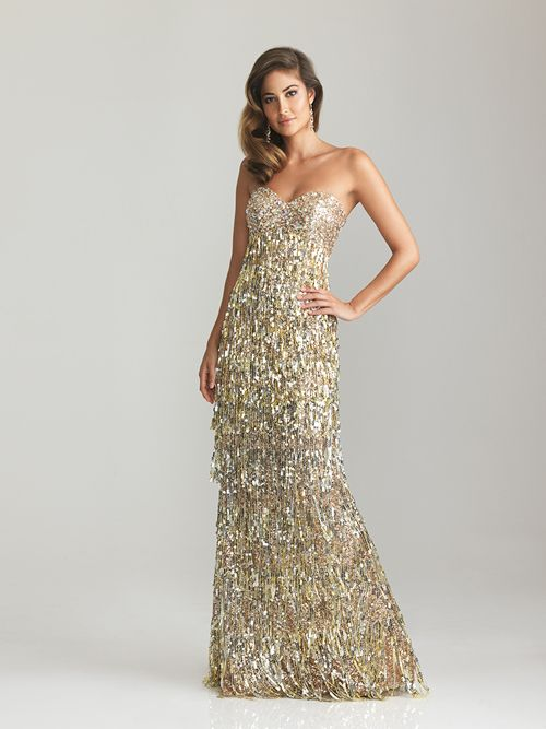 Gold Beaded &amp Sequin Fringe Strapless Fitted Long Evening Dress ...