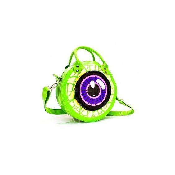 Kreepsville 666 Eyeball Bag ❤ liked on Polyvore featuring bags, handbags, shoulder bags, zipper purse, green handbags, kreepsville 666, green shoulder bag and green purse