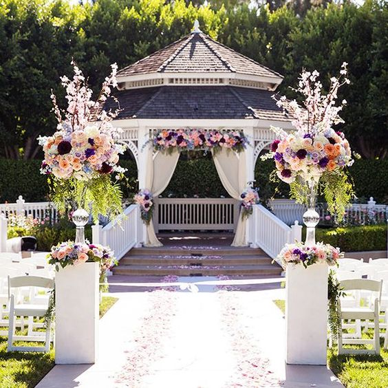 Whimsical Blooms At A Wedding Ceremony In Disneyland's