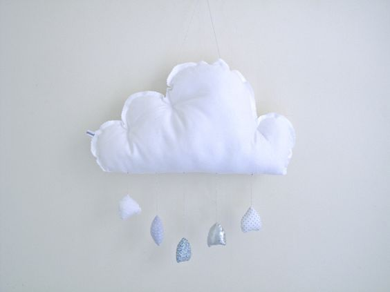 grand nuage gouttes bleues / grises`   Pompon pétillant