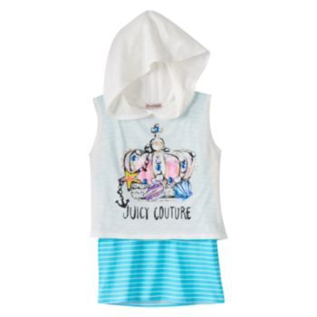 Juicy Couture Sleeveless Mock-Layer Hoodie - Girls 7-16