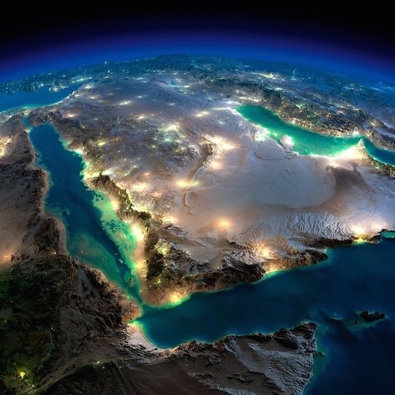 Arabian peninsula from space... Incredible photographs of Earth at night from space  Believe it or not, none of these photographs have been photoshopped. They are just amazing captures by NASA of our awesome planet from outer space, at night!