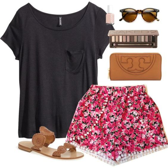 Browse ideas for stylish summer outfits from Polyvore. You can find inspiration for how to wear sundresses, sandals, shorts and other warm-weather essentials. If you love these ideas, why not share them on Pinterest? Floral Shorts and Black Tee – Perfect Combination for Everyday Printed Shorts and White Top Gorgeous Casual Dress With Brown Shoes …: