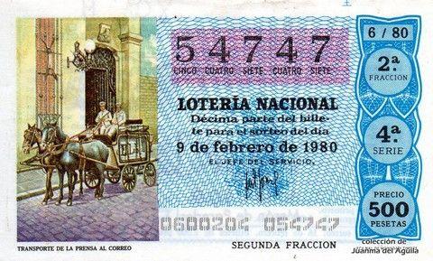 Décimo Del Sorteo Extraordinario De Lotería De San Valentin Celebrado El 9 De Febrero De 1980 Coleccionismo Loteria Cole Lotería Nacional Lotería Sorteo
