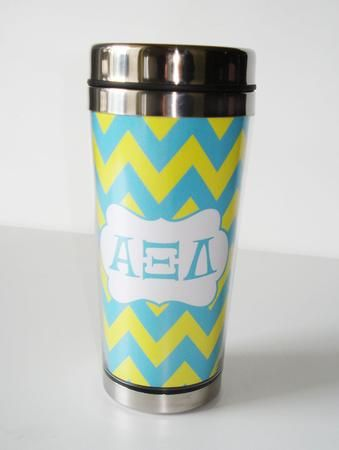 Drink your coffee in style with this Alpha Xi Delta mug.